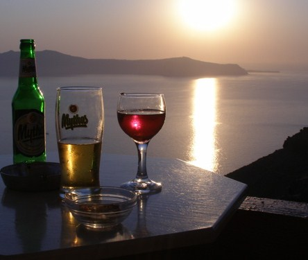 wine drinking in santorini greece