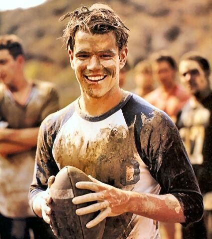 Matt Damon playing football