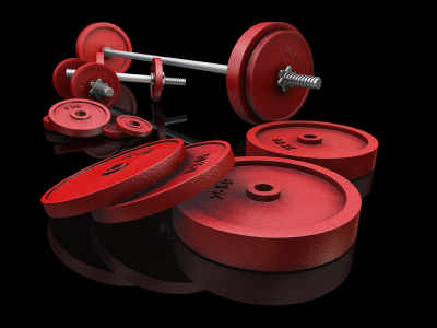 picture of red barbells and dumbbells