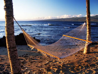 hammock on beach in Hawaii